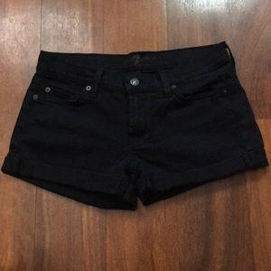 7 for all mankind black cuffed shorts
